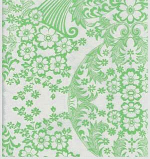 Lime Green Toile Oilcloth Fabric -- Limited Stock