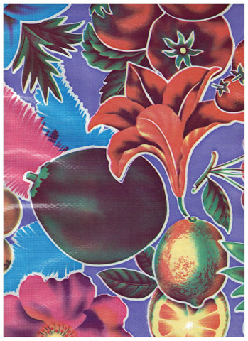 Large Tropical Fruit on Purple Oilcloth Fabric