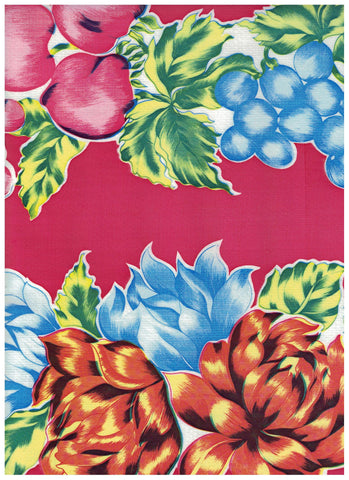 Large Vintage Fruit on Red Oilcloth Fabric