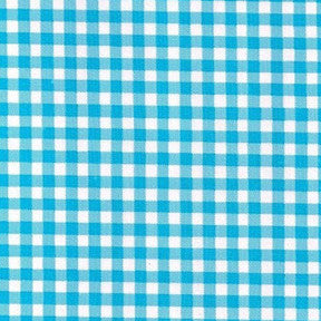 Light Blue Gingham Oilcloth Fabric