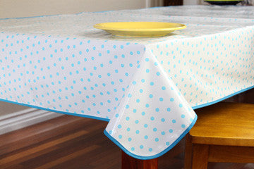 "Light Blue Oilcloth Tablecloth 84"" x 47"""
