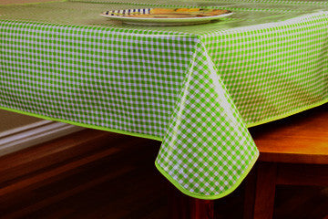 "Lime Green Gingham Oilcloth Tablecloth 84"" x 47"""