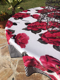 Round Magenta Blossom Oilcloth Tablecloth with Black Gingham Borders