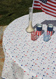 "70"" Round 4th of July Stars Oilcloth Tablecloth"