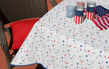 "4th of July Stars Oilcloth Tablecloth 84"" x 47"""