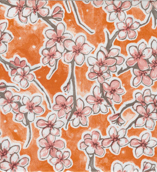 Orange Cherry Blossoms Oilcloth Fabric