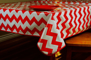 "Red Chevron Oilcloth Tablecloth 84"" x 47"""