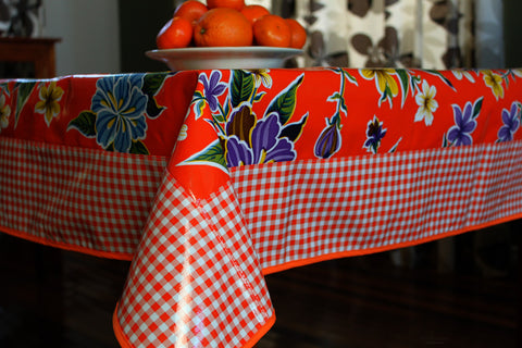 "Orange Hibiscus And Gingham Oilcloth Tablecloth 84"" x 56"""