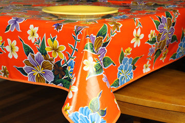"Orange Hibiscus Oilcloth Tablecloth 84"" x 47"""