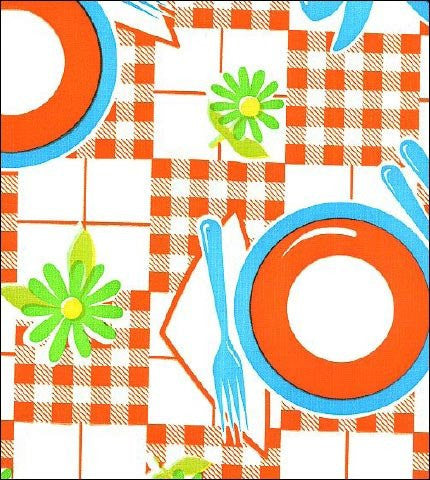 Orange Tabletop With Blue Oilcloth By The Yard