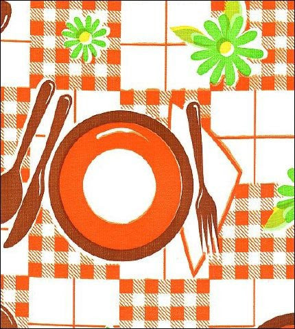 Orange Tabletop With Brown Oilcloth By The Yard