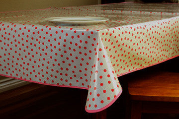 "Pink Polka Oilcloth Tablecloth 84"" x 47"""