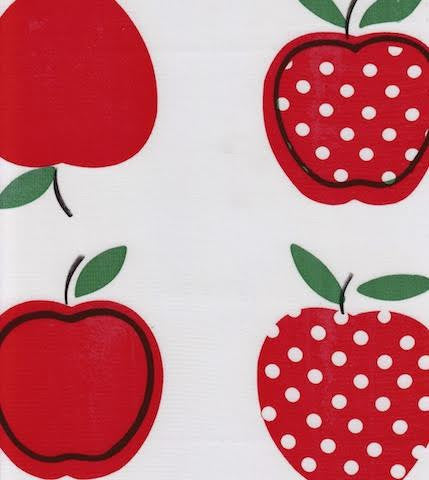 Red Apples And Polka Oilcloth By The Yard