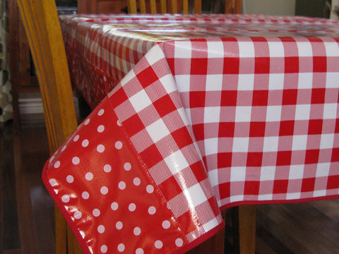 "Red Cafe Check Oilcloth Tablecloth 84"" x 56"""