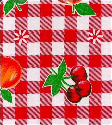Red Cafe Check With Fruit Oilcloth By The Yard