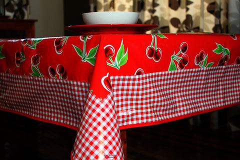 "Red Cherry And Gingham Oilcloth Tablecloth 84"" x 56"""