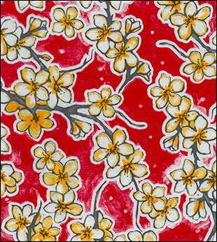 Red Cherry Blossoms Oilcloth Fabric