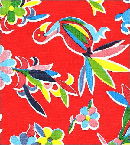 Red Oaxaca Oilcloth Fabric