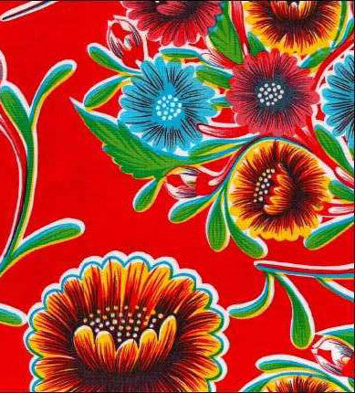 Red Spring Bloom Oilcloth Fabric