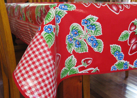 "Red Strawberry Oilcloth Tablecloth 84"" x 56"""