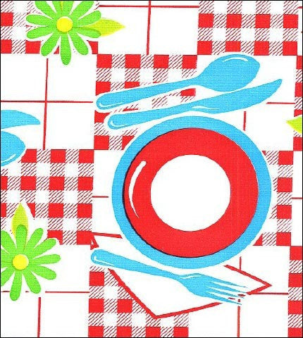Red Tabletop With Blue Oilcloth By The Yard