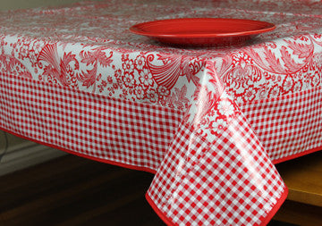 "Red Toile And Red Gingham Oilcloth Tablecloth 84"" x 56"""
