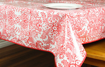 "Red Toile Oilcloth Tablecloth 84"" x 47"""