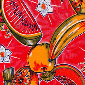 Red Tropical Splash Oilcloth Fabric