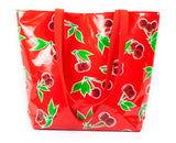 Reversible Oilcloth Totebag - Red Cherry