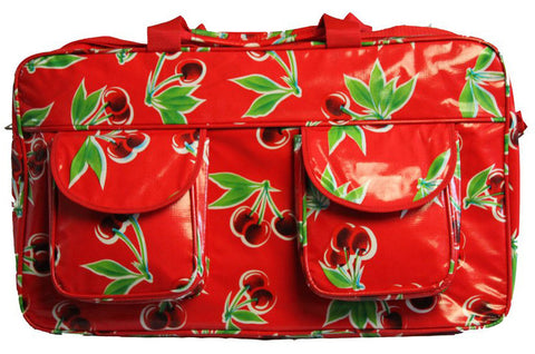 Oilcloth Weekender Bag - Red Cherry