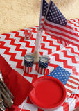 "4th of July Red Chevron Oilcloth Tablecloth 84"" x 47"""