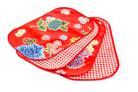Red Mums Reversible Oilcloth Placemats - set of 4