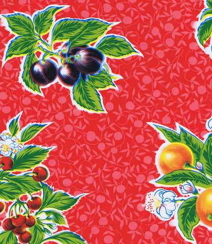 Red Summer Fruit Oilcloth Fabric