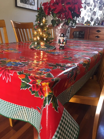 "Red Vintage Christmas and Green Gingham Oilcloth Tablecloth - 84"" x 56"""