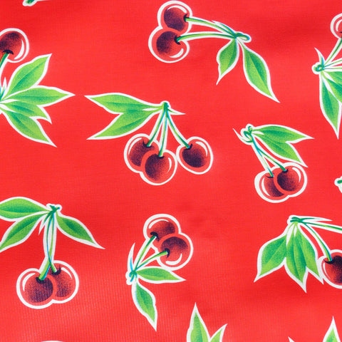 Red Cherry Oilcloth Fabric