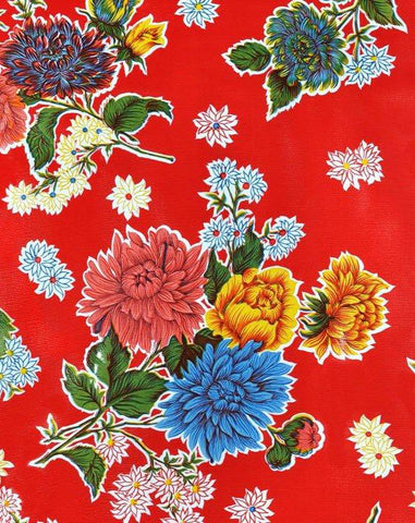 Red Mums Oilcloth Fabric