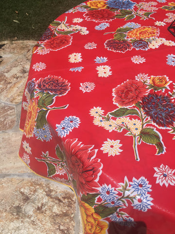 Round Red Mums Oilcloth Tablecloth