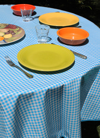 "70"" Round Light Blue Gingham Oilcloth Tablecloth"