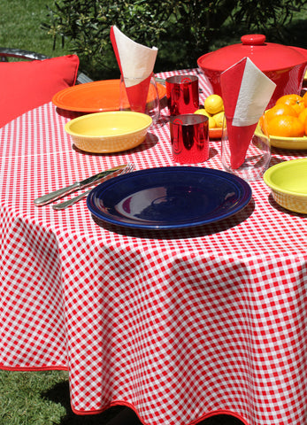 Round Red Gingham Oilcloth Tablecloth