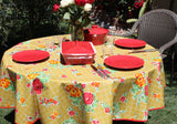 "70"" Round Tan Roses Oilcloth Tablecloth"