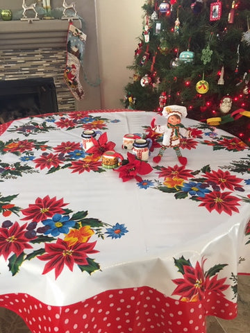 "60"" Round White Vintage Christmas Oilcloth Tablecloth"