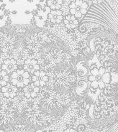 Silver and White Toile Oilcloth Fabric