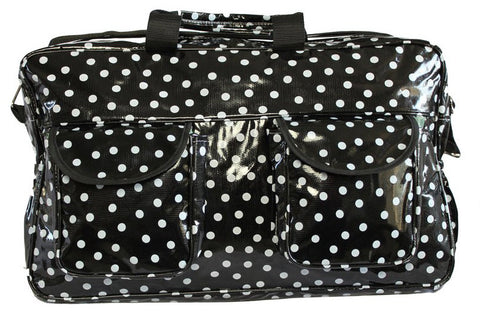 Oilcloth Weekender Bag - White on Black Polka