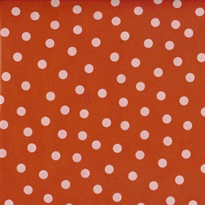White on Red Polka Dot Oilcloth Fabric
