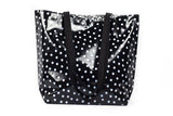 Reversible Oilcloth Totebag - White on Black Polka Dot