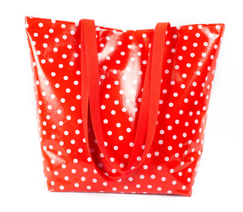 Reversible Oilcloth Totebag - White on Red Polka dot