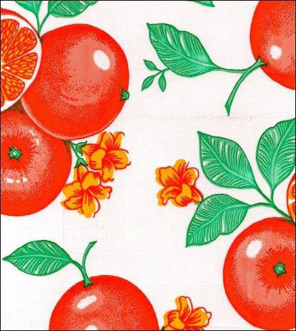 Oranges on White Oilcloth Fabric