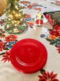White Vintage Christmas Oilcloth Tablecloths