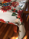 "84"" x 47"" White Vintage Christmas Oilcloth Tablecloth"