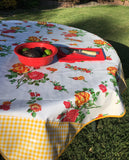 Round White Rose & Yellow Gingham Oilcloth Tablecloth